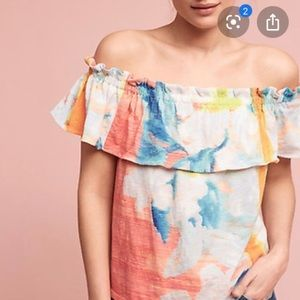 Anthro Off Shoulder Painterly Blouse Small